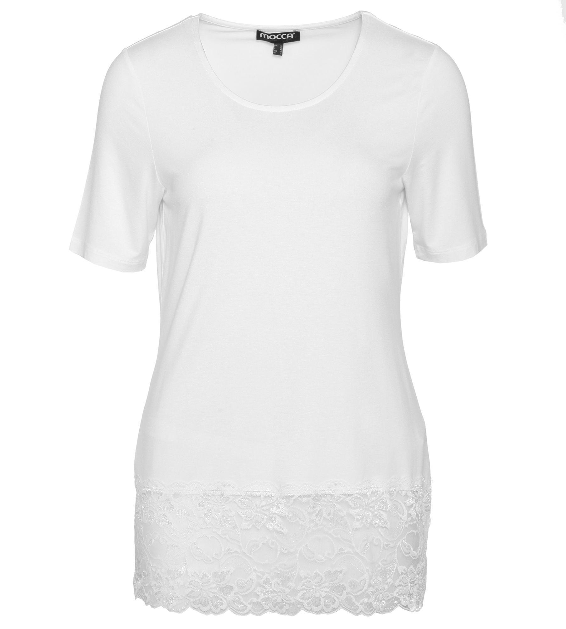 1/2-Arm Shirt mit Spitzenborte  36 weiß