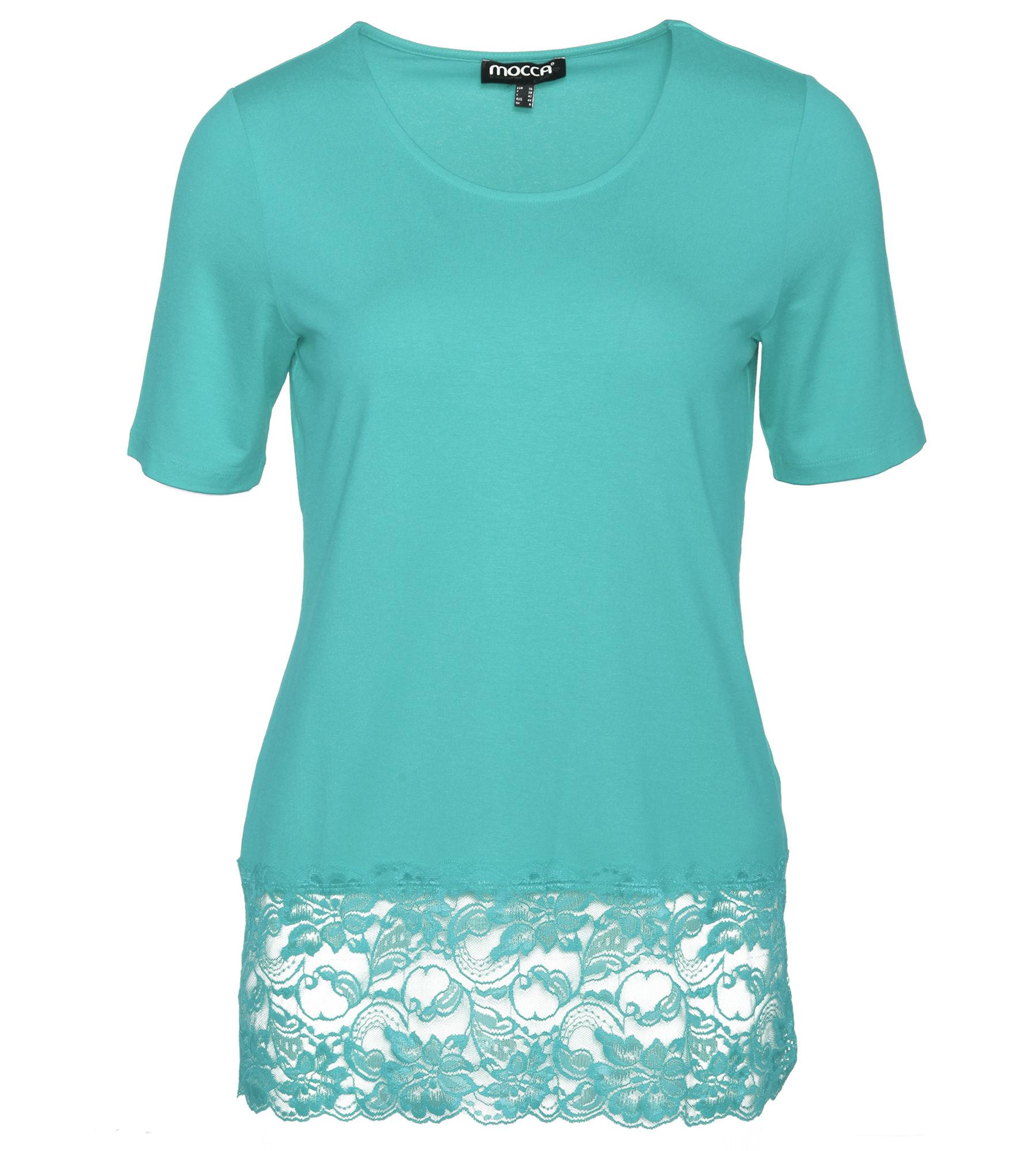 1/2-Arm Shirt mit Spitzenborte  36 aqua