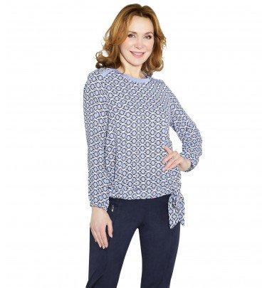 Shirt mit Knotendetail MONACO blue Mode Shirt CHANNEL21