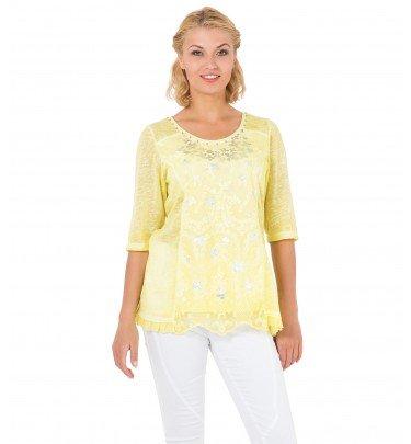 Shirt mit Spitze und Folienprint