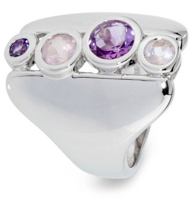 Cocktail-Ring , Amethyst, Rosenquarz