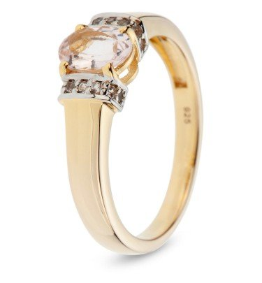 Cocktail-Ring Morganit, Silber 925 vergoldet