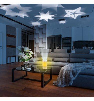 LED-Echtwachskerze mit Projektor-Funktion