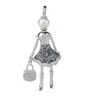 Anhänger Shopping Queen Glitter Silber 925