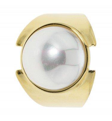 Design-Ring, Muschelkernperle, Ø 14 mm, Silber 925