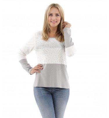 Soft Touch Pullover mit edlem Strass-Besatz