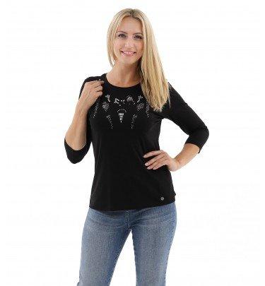 Shirt mit Rundhals, Ziersteinen und Pailletten