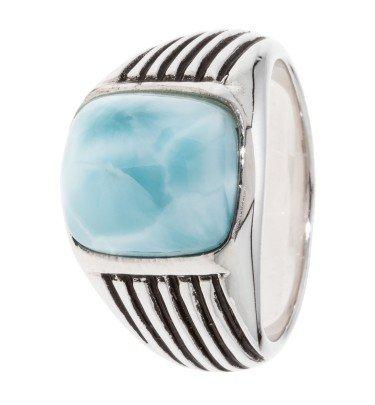 Siegel-Ring mit Larimar, Silber 925 rhodiniert