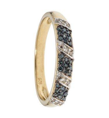Rivière-Ring mit 39 Diamanten, Silber 925 vergold.
