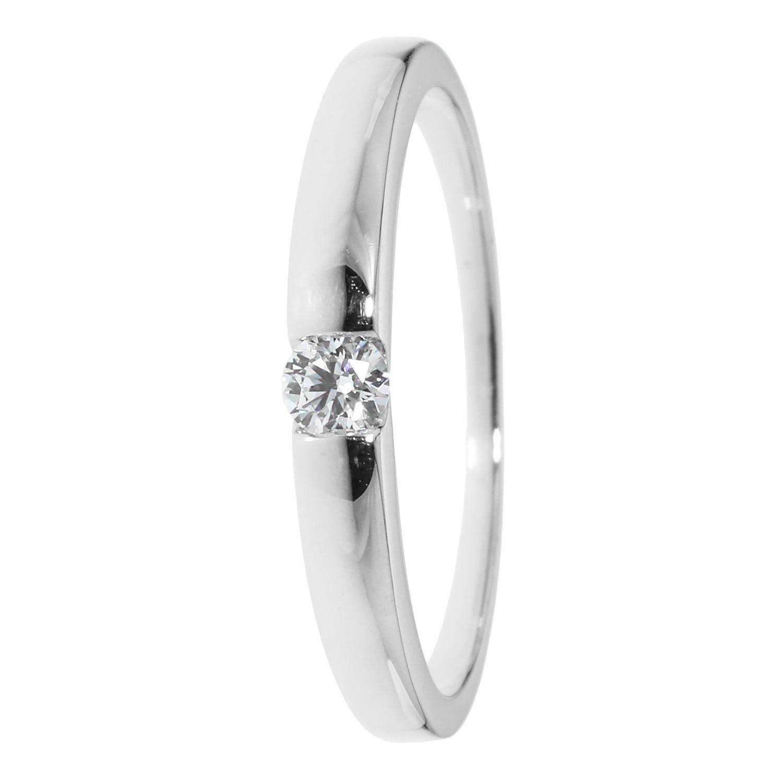 Solitär Ring, 1 Brillant, ges. 0,14 ct., Gold 375