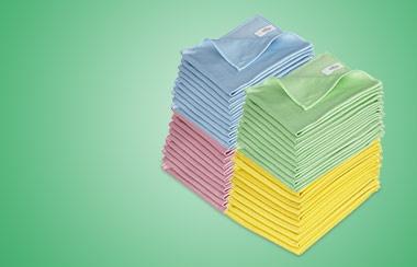 Banner mit gestapelten Putztüchern von HiGloss in diversen Farben